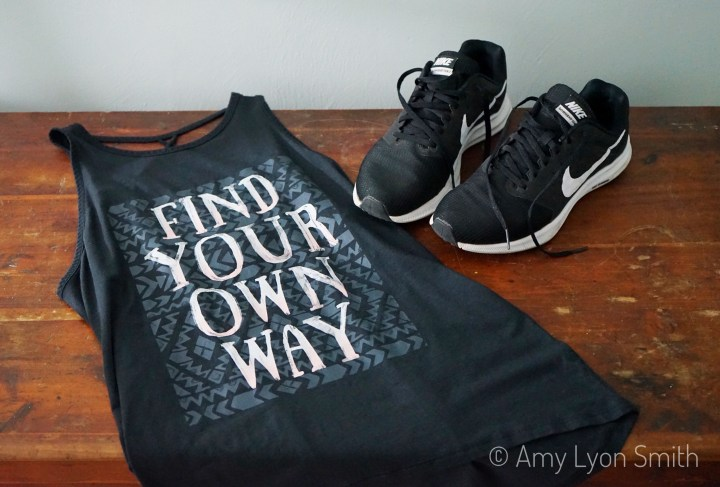 Calia by Carrie Underwood tank and Nike running shoes