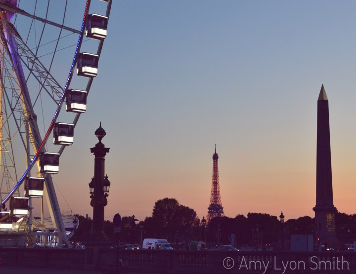 Eiffel Tower, Obelisk and Ferris Wheel from Place de la Concorde in Paris, France
