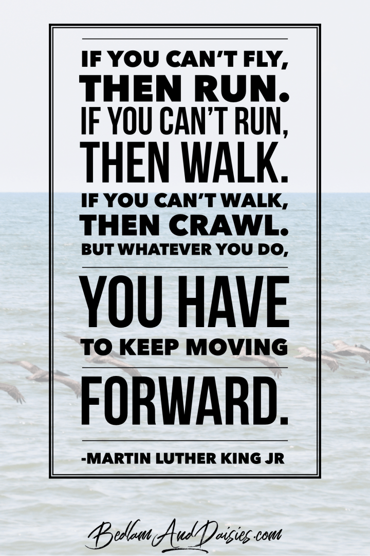 If you can't fly, then run, if you can't run, then walk. If you can't walk, then crawl. But whatever you do, you have to keep moving forward. - Martin Luther King Jr. quote