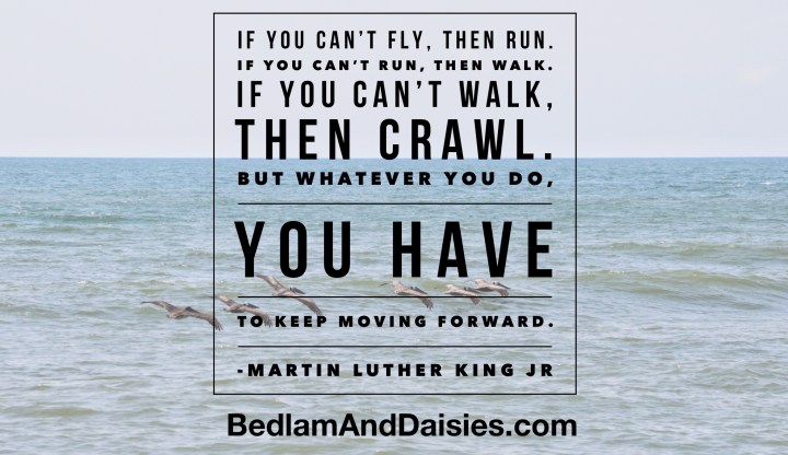 If you can't fly, then run. If you can't run, then walk. If you can't walk, then crawl. But whatever you do, you have to keep moving forward. - Martin Luther King Jr. quote quotes photoquote