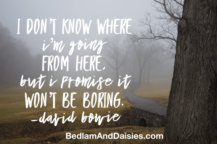 I don't know where I'm going from here, but I promise it won't be boring. - David Bowie photo quote