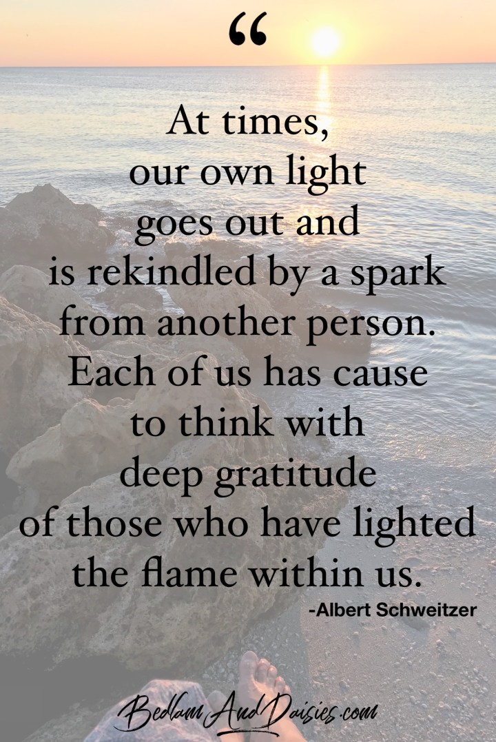At times, our own light goes out and is rekindled by a spark from another person. Each of us has cause to think with deep gratitude of those who have lighted the flame within us. -Alber Schweitzer