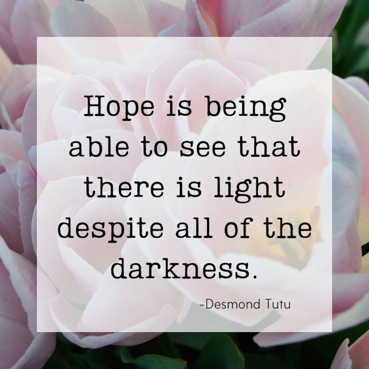 Hope is being able to see that there is a light despite all of the darkness. -Desmond Tutu