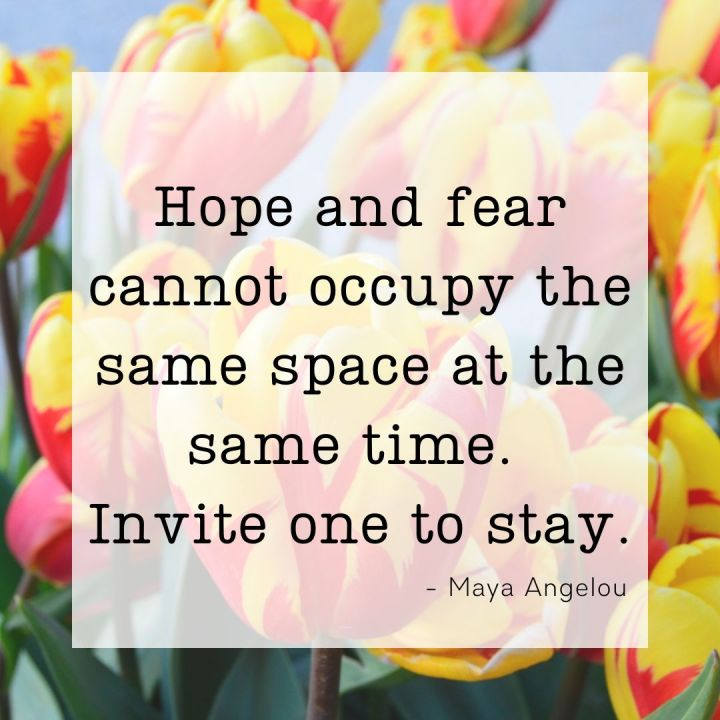 Hope and fear cannot occupy the same space at the same time. Invite one to stay. - Maya Angelou