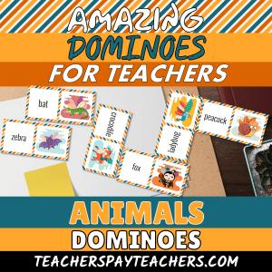 animal dominoes ESL vocabulary