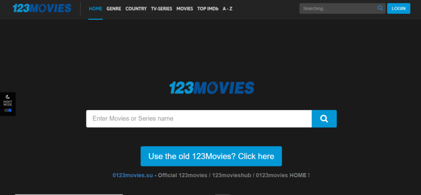 123Movies in Night Mode (Dark)