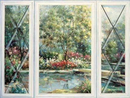 Trompe L Oeil Garden Window Wallpaper Mural Wall Paper English Leaded Glass Panels French