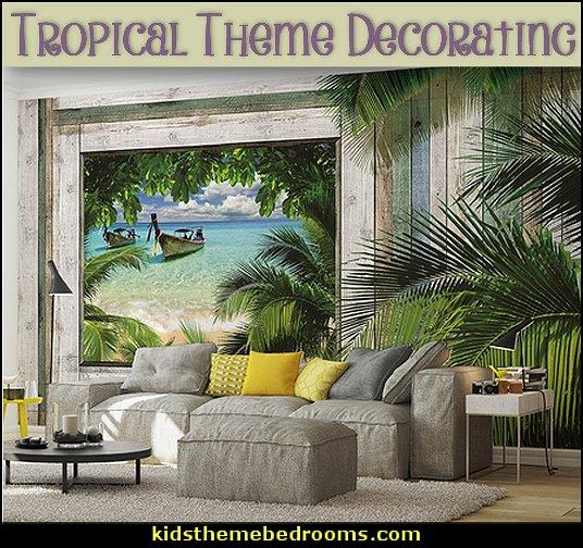 Tropical theme Hawaiian style decorating  theme bedroom decorating ideas