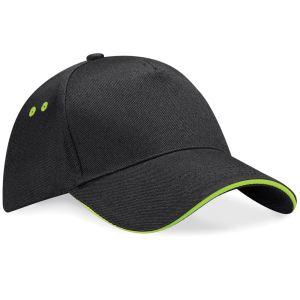 zwarte Cap lime / groene kleur bies - bedruk mijn cap