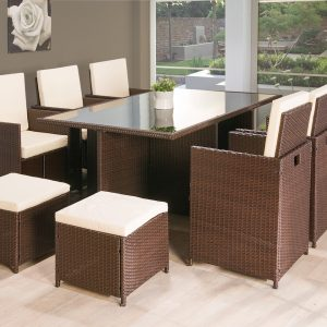 rattan garden chairs only uk guitar playing chair furniture beds co the bed outlet 11pc cube brown or black 0