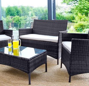 rattan garden chairs only uk hanging chair from ceiling furniture beds co the bed outlet 4pc set black or brown 0