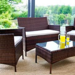 Rattan Sofa Set Uk Rv Jackknife Cover 4pc Garden Furniture Brown Luxury Leather Beds Or Black 0