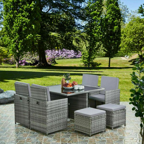 9pc cube rattan 8 seater garden set brown
