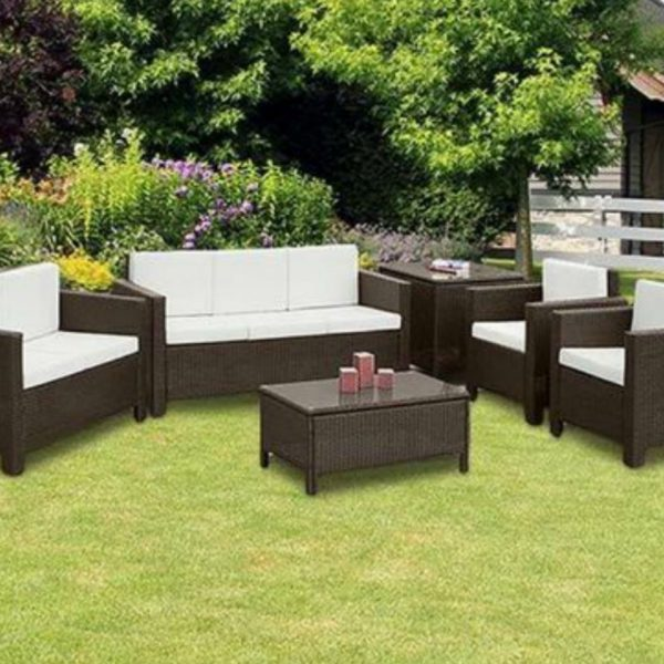 rattan garden corner sofa sets project bristol warehouse 6pc large set furniture 7 seater black mixed brown 0