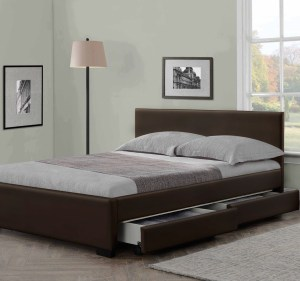 Indigo Storage Leather Bed Frame