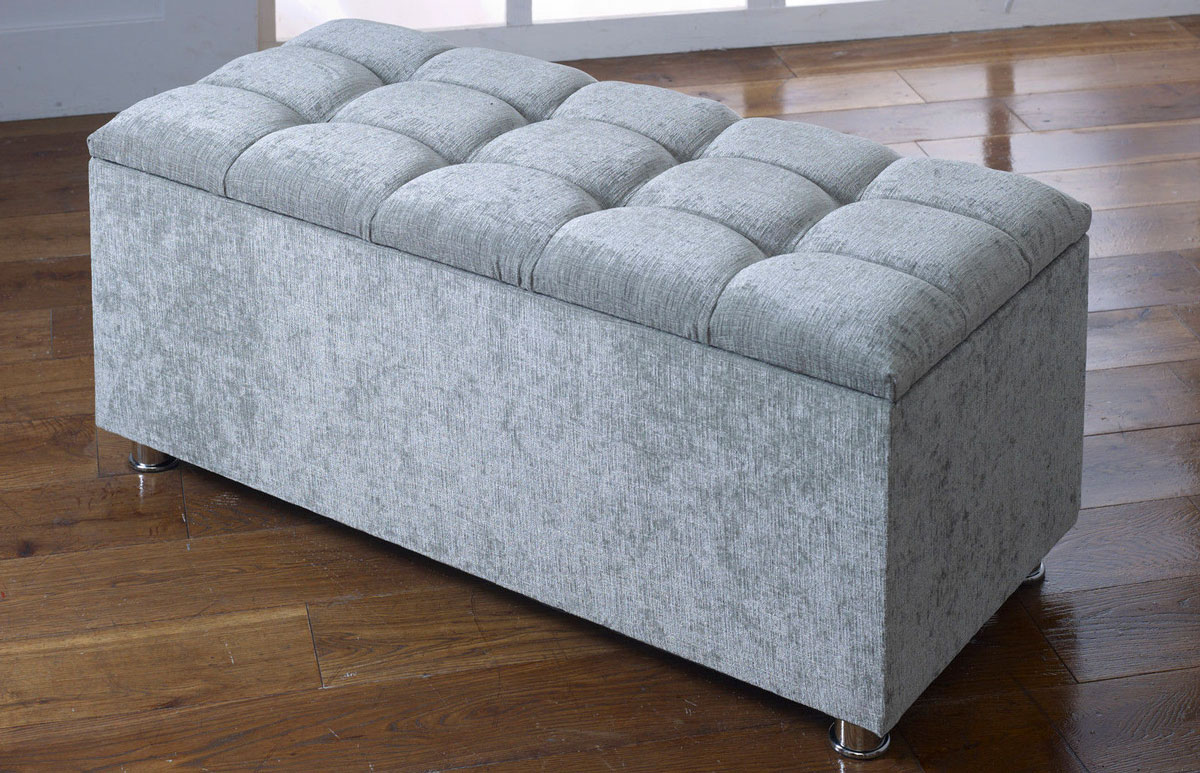 Large Fabric Storage Ottoman