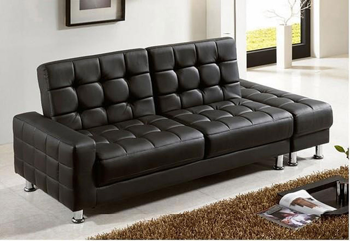 faux leather sofa bed with storage sleeper memory foam mattress pad kent