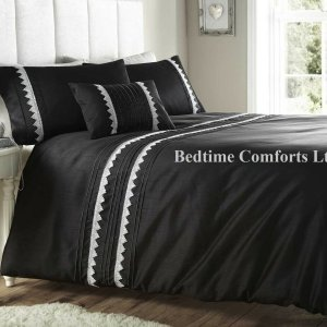 Black & Silver Duvet Cover + 2 Pillow Cases ZINA