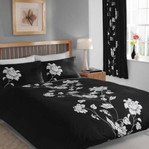Black Floral Design Duvet Cover & Pillowcases CHARISMA