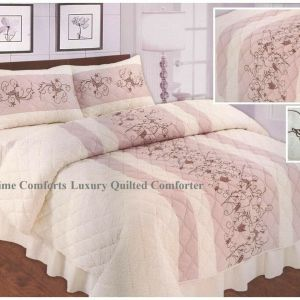 """Pink Butterfly Design """"QUILTED"""" Bedspread Comforter & Pillowcase/s"""