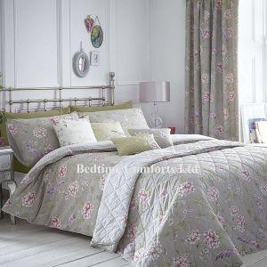 Grey, Lilac, Pink Floral/Bird Duvet Cover + Pillow Case JAZE