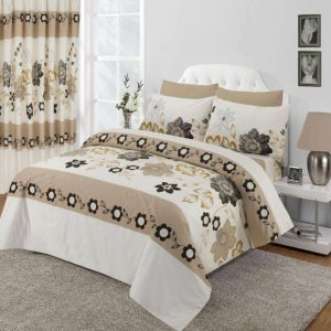 Beige Floral Design Duvet Cover & Pillowcases SEASONS