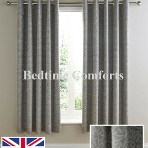 Fully Lined Eyelet Ringed Grey Curtains HANNY (2 Sizes Available)
