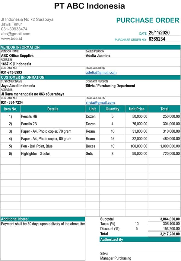 Contoh Purchase Order Barang : contoh, purchase, order, barang, Fungsi,, Contoh, Purchase, Order, Barang, Bee.id