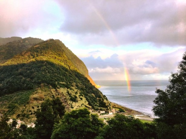 Rainbow in Azores over the ocean- one of many top things to do in the azores