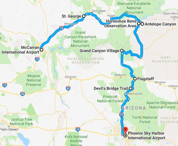 Map Of Arizona And Grand Canyon.Vegas To Phoenix In 48 Hours The Ultimate Grand Canyon Road Trip
