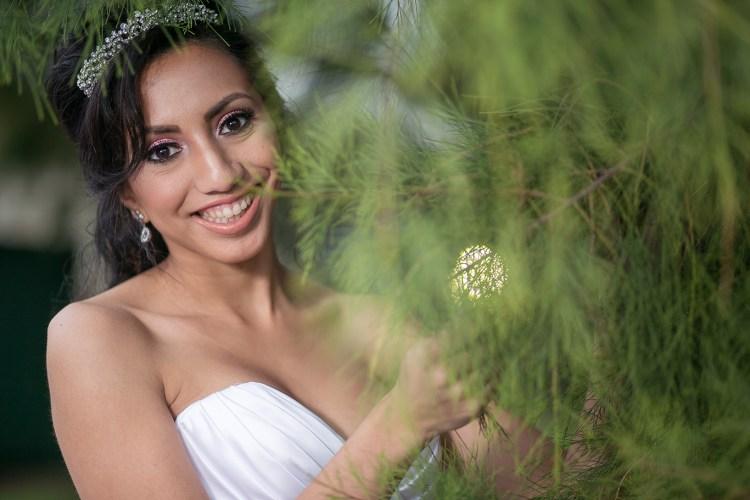 pine tree bridal photo close up