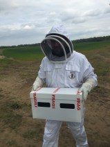 Stuart taking a hive to the apiary.