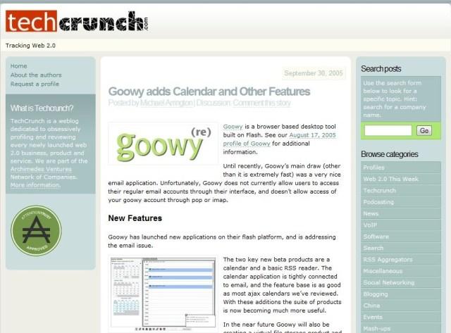 techcrunch in 2005