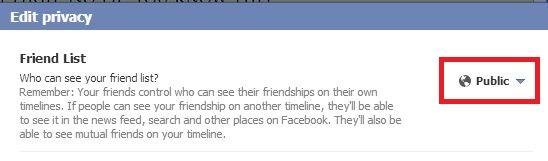 configuración predeterminada de amigo de Facebook