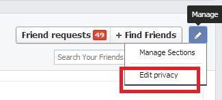 administrar la lista de amigos de facebook