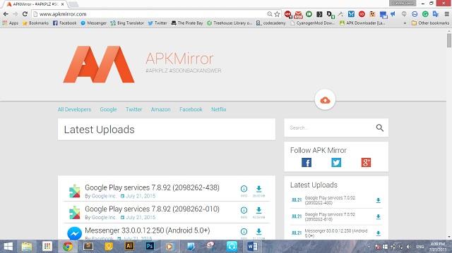 APKMirror Homepage
