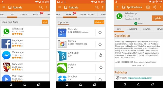 Aptoide - search, download and install an app