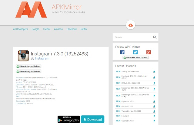Download an app from APKMirror
