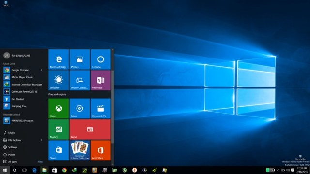 New Start menu in Windows 10