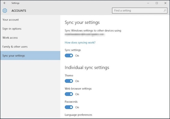Customize the Sync Settings