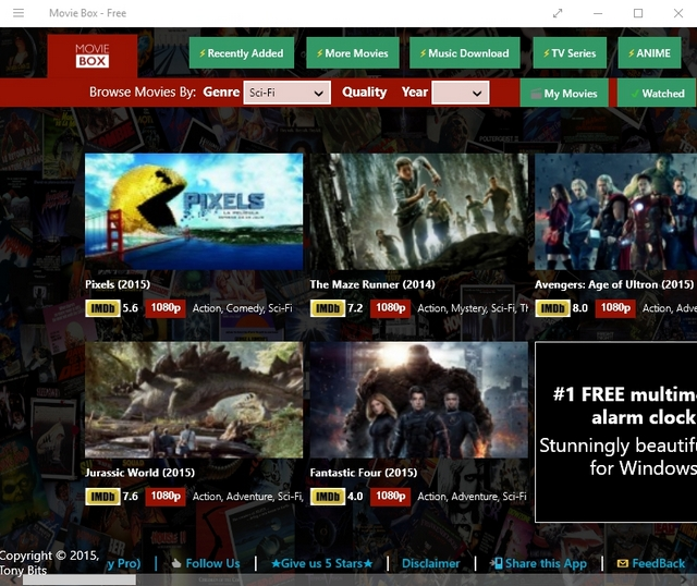 Movie Box Windows App