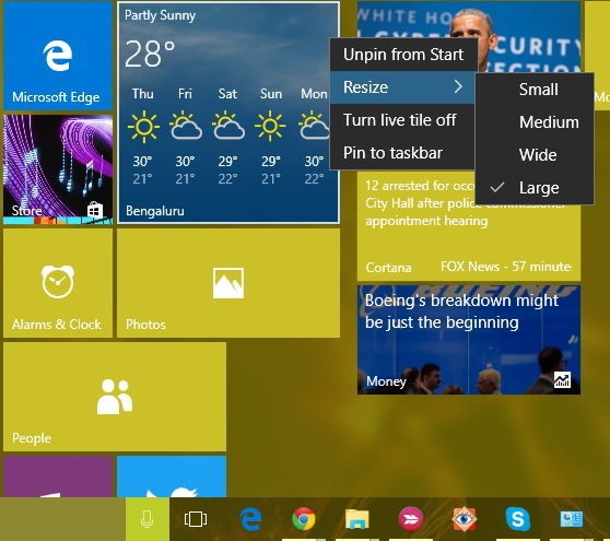 Start menu tile resize Windows 10