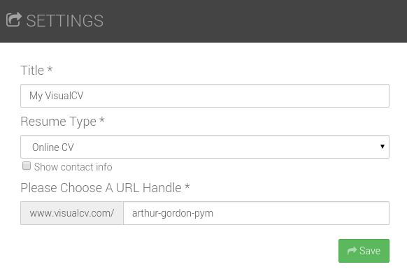 Online Resumes Visualcv Settings