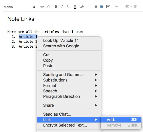 Evernote 3b - Add Note Links