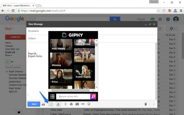Giphy GIF Gmail extension