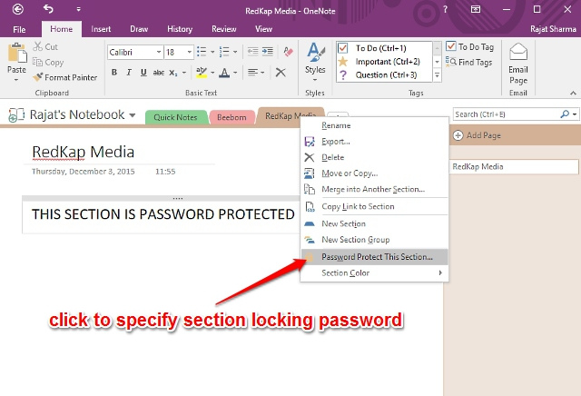 onenote password protect notes