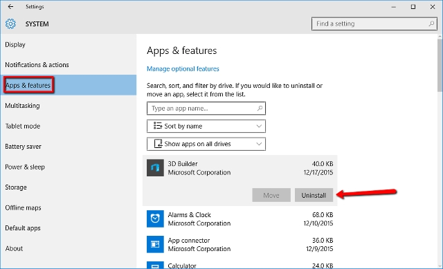 uninstall apps and programs windows 10