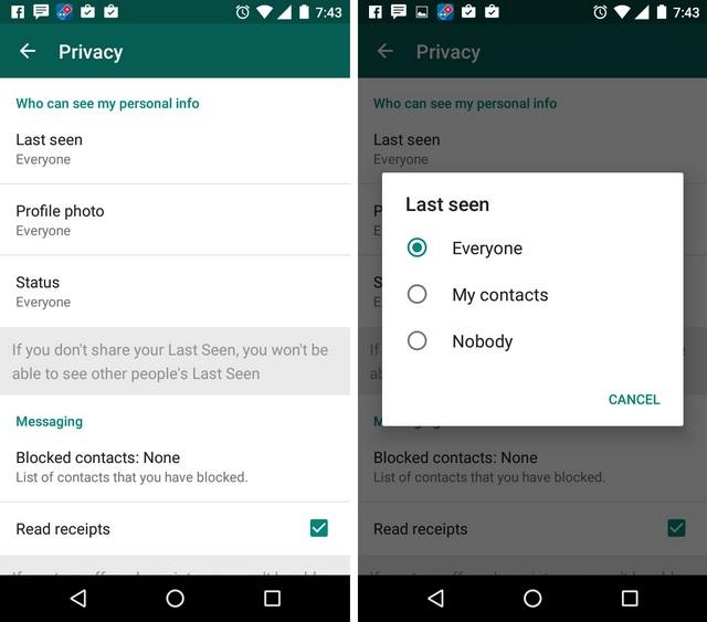 WhatsApp Tricks Hide last seen