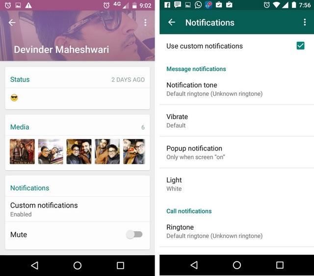 WhatsApp tricks custom notifications