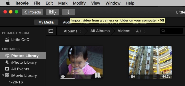 iMovie - import video
